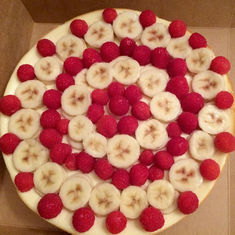 Raspberry Banana Topped Cheesecake